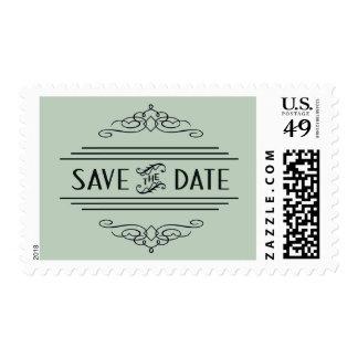 Save the Date Art Deco Vintage Gatsby Wedding Mint Postage