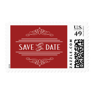 Save the Date Art Deco Vintage Gatsby Wedding Red Postage