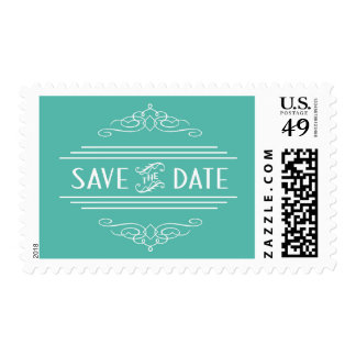 Save the Date Art Deco Vintage Gatsby Wedding Teal Postage