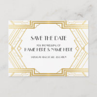 Save The Date Art Deco Wedding Party Gold Invites