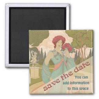Save the Date, Art Nouveau 2 Inch Square Magnet