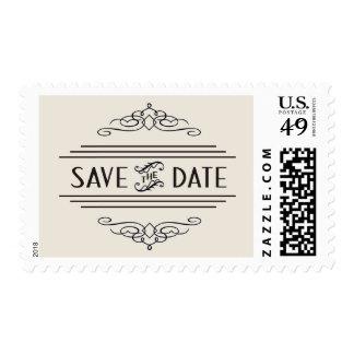 Save the Date ArtDeco Vintage Gatsby Wedding Ivory Postage