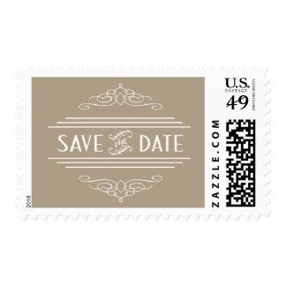 Save the Date ArtDeco Vintage Gatsby Wedding Taupe Postage