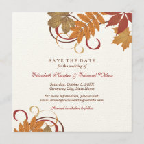 Save the Date | Autumn Falling Leaves