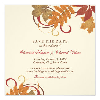 Save the Date | Autumn Falling Leaves Card