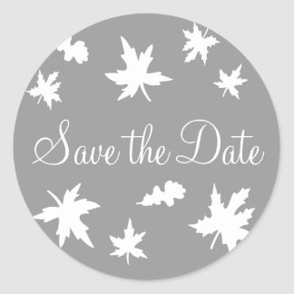 Save the Date Autumn Leaves Envelope Sticker Seal