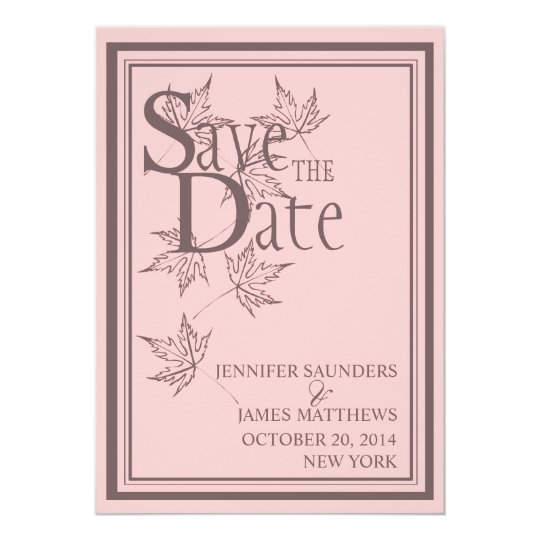 Save the Date Autumn Pink Wedding Announcement