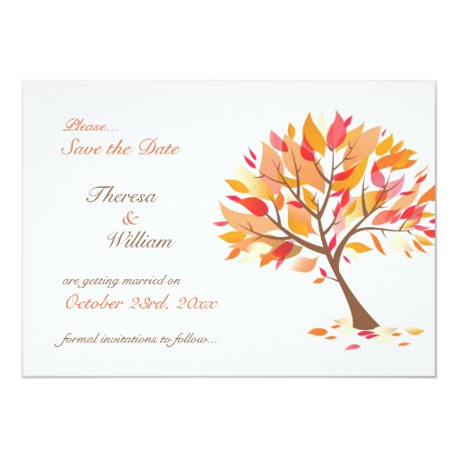 Save The Date Autumn Theme Tree Flat Card Announcements