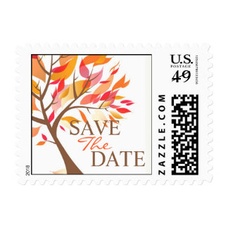 Save The Date Autumn Tree Small Postage