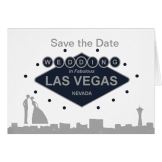 """Save the Date"" B&G Silhouette Wedding in Las Vega Card"