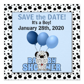 Save the Date | Baby Shower Blue Dalmatian Card