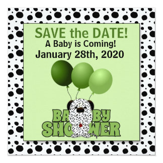 Save the Date | Baby Shower Green Dalmatian Card