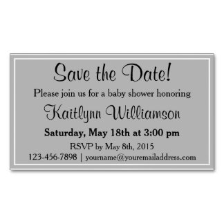 Save the Date Baby Shower Magnetic Card Reminders Magnetic Business Cards (Pack Of 25)