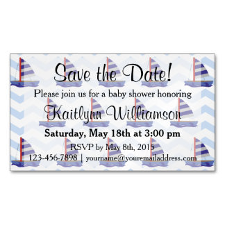 Save the Date Baby Shower Sail Boats Magnetic Card Magnetic Business Cards (Pack Of 25)