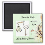 Save the Date Baby Shower Stork Magnets
