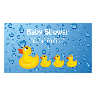 Save the Date Baby Shower Yellow Duckie Double-Sided Standard Business Cards (Pack Of 100)