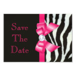 Save The Date Baby Shower Zebra Hot Pink Bow Card