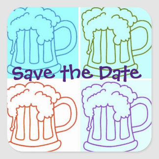 Save the Date/Bachelor Party Square Sticker