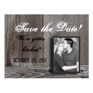 save the date barn wood postcard