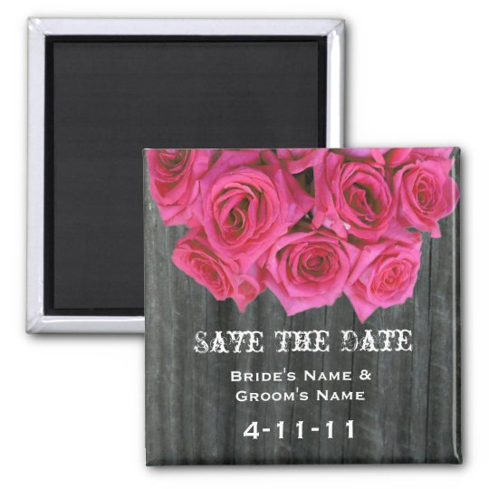 Save The Date - Barnwood & Hot Pink Roses Magnet