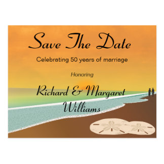 Save The Date Beach Anniversary Postcard