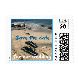 Save the Date Beach Flip Flop Sandals Postage