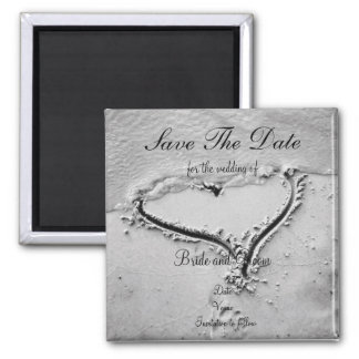 Save the Date Beach Heart 2 Inch Square Magnet
