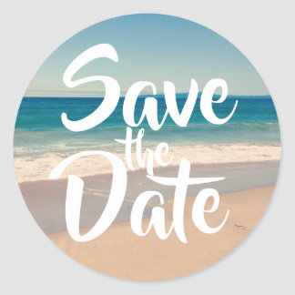 Save the Date Beach Photo Classic Round Sticker