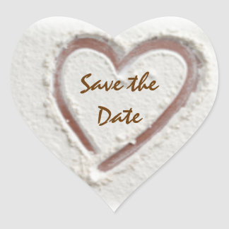 Save the Date/Beach Sand Heart Heart Sticker