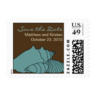 Save the Date Beach Sea Shells postage stamp