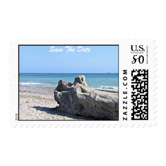 Save The Date Beach Surf Postage Stamp