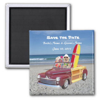 Save the Date - Beach Wedding 2 Inch Square Magnet