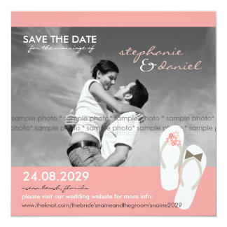 Save The Date Beach Wedding Flip Flops Daisies Card