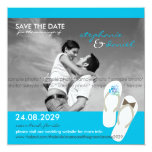 Save The Date Beach Wedding Flip Flops Daisies 5.25x5.25 Square Paper Invitation Card