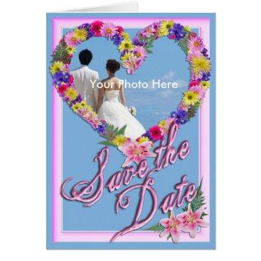 Beach Themed Save the Date, Beach Wedding Flower Invitation