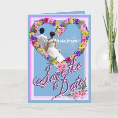 Save the Date Beach Wedding Flower Invitation Greeting Card by