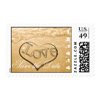 Save the Date Beach Wedding Sand Waves Heart Postage