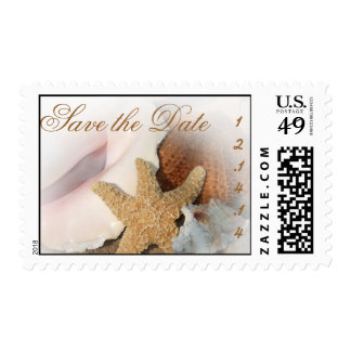 Save the Date Beach Wedding StarFish Shells Stamps