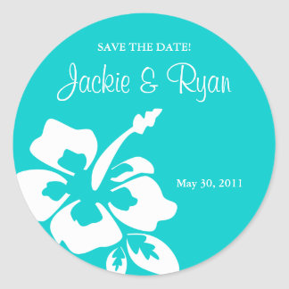 Save the Date Beach Wedding Stickers Hibiscus Blue