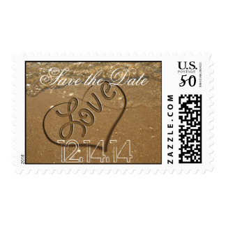 Save the Date Beach White Sand and Blue Water Postage