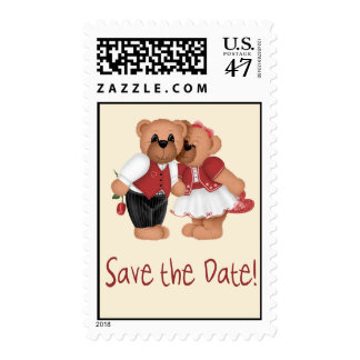 Save the Date Bears Postage Stamp