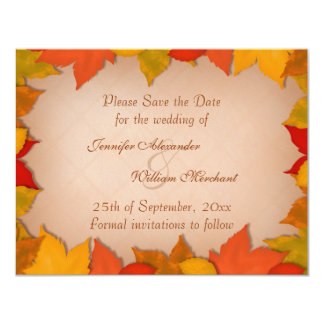 Save the Date Beautiful Fall Autumn Leaves 4.25x5.5 Paper Invitation Card