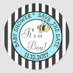 Save the Date, Bee Its a Boy  Baby Shower Sticker