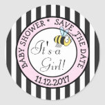 Save the Date, Bee Its a Girl Baby Shower Sticker