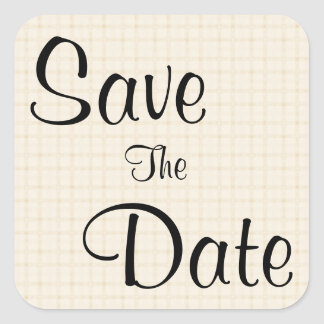Save The Date. Beige Check with Black Text. Square Sticker