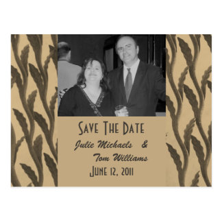 Save the Date Biege Brown Branches Postcard