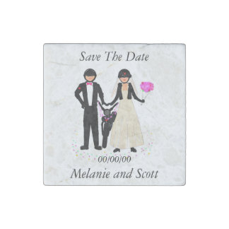 Save The Date Biker Wedding magnets, stone Stone Magnet