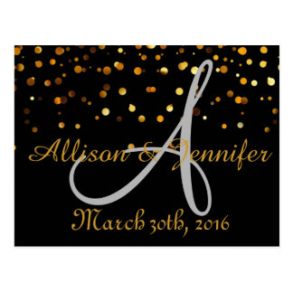 Save the date Black and Gold Glitter Faux Foil Postcard