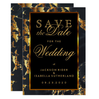 Save the Date Black and Gold Marble Card