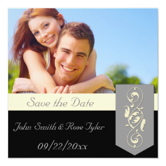 """Save the Date Black and Grey 5.25"""" Square Invitation Card"""